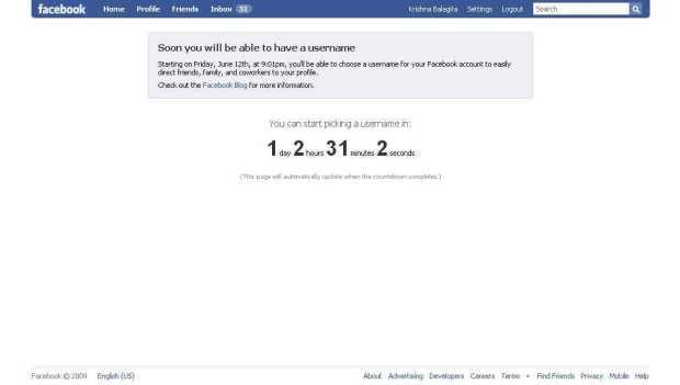 Facebook - vanity url